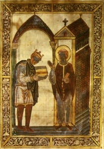 The imperious Athelstan, shown here presenting a book to St Cuthbert
