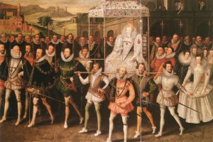 A procession of Elizabeth I and her court.