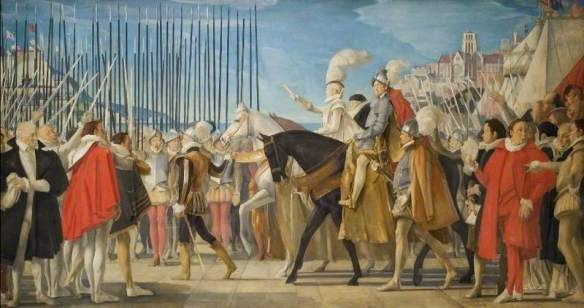 Elizabeth I inspecting her troops at Tilbury Fort during the Spanish Armada.
