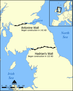 A map indicating the brief second-century craze for building massive walls across Scotland.
