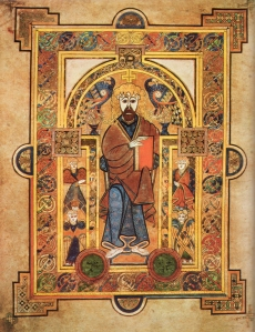 The Book of Kells, a magnificent work of illuminations which may have been started in Iona