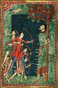 King Edmund of East Anglia in the process of becoming Edmund the Martyr