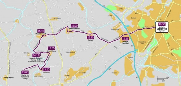 The route of that Richard's procession will take