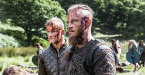 Ragnar Lodbrok and son (Bjorn Ironside) from TV show Vikings
