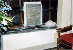The plaque above Marmaduke's tomb, telling us of his impressive deeds