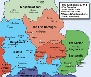 The Five Boroughs in 912 (by the 940s, Mercia was part of Wessex/England)