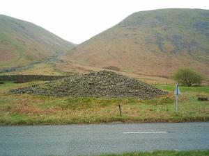 Dunmail Raise, the cairn which supposedly covers Dunmail III's body