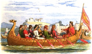 Edgar the Peaceable being rowed along the River Dee