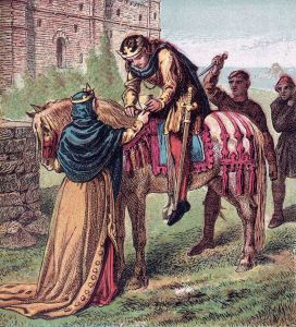 Edward the Martyr, receiving his wine before being stabbed in the back