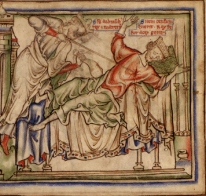 Sweyn Forkbeard being speared by St Edmund the Martyr
