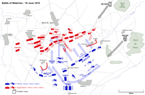 A map detailing the movements of the three armies from 15-18 June