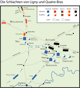 The position of the forces on 16 June for the battles of Ligny and Quatre Bras