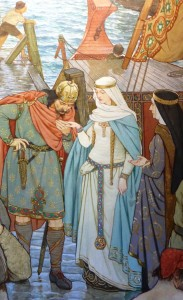 A fanciful depiction of Malcolm III welcoming Margaret to shore