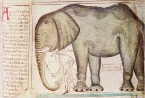 Matthew Paris' depiction of the elephant given to Henry III in the 13th century