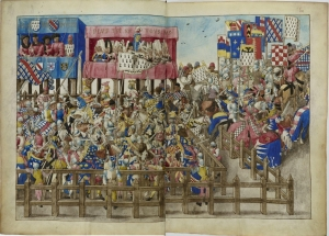 A depiction of a melee in a medieval tournament. In William's day, there would have been little in the way of spectating