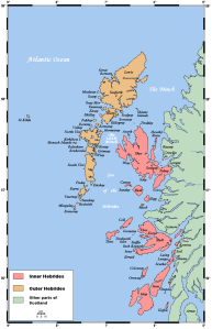 The Inner and Outer Hebrides that make up the Western Isles of Scotland