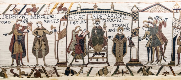 Harold Godwinson being crowned in 1066