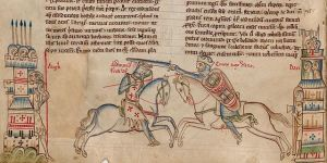 A medieval depiction of Edmund Ironside and Cnut in battle - in reality, they resolved the war through dialogue