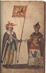 John Balliol with his wife, whose father defeated the Scottish army at Dunbar