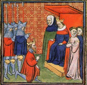 John Balliol submitting to Edward I in 1292 - in 1296 he would hand over the crown jewels!