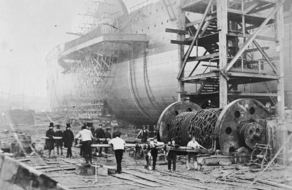 The vast SS Great Eastern during its construction