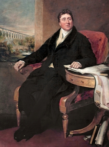 Thomas Telford, with his Pontcysyllte aqueduct in the background